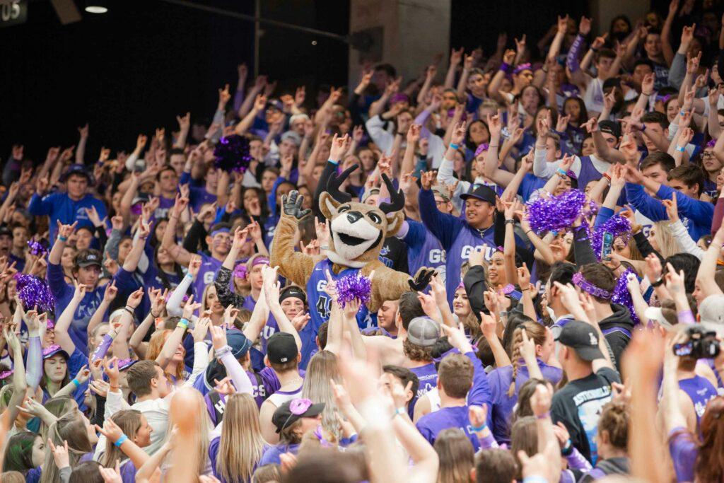 GCU Havoc Section with GCU Mascot Thunder